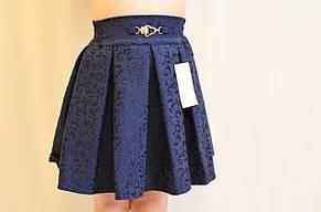 Стильная черная школьная юбка на девочку из жаккардовой ткани., фото 2