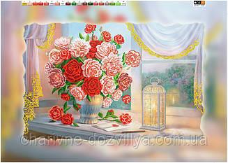 """Схема для вышивки бисером на подрамнике (холст) """"Букет роз у окна"""""""