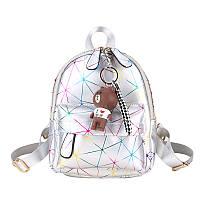 Рюкзак женский городской для девушек, девочек с брелком (серебристый), фото 1