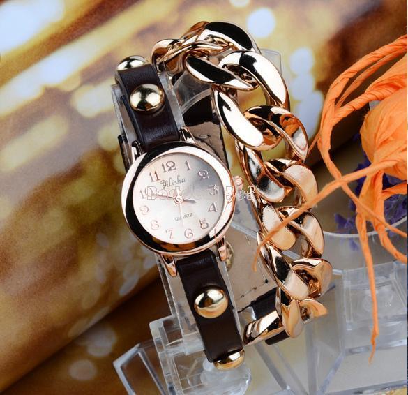 Стильные браслет-часы черный цвет+золото