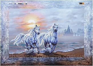 """Схема для вышивки бисером на подрамнике (холст) """"Прекрасная пара лошадей"""""""