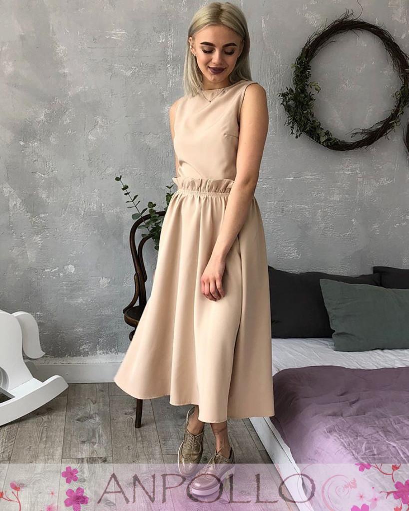 Платье из софта макси с поясом высокая талия