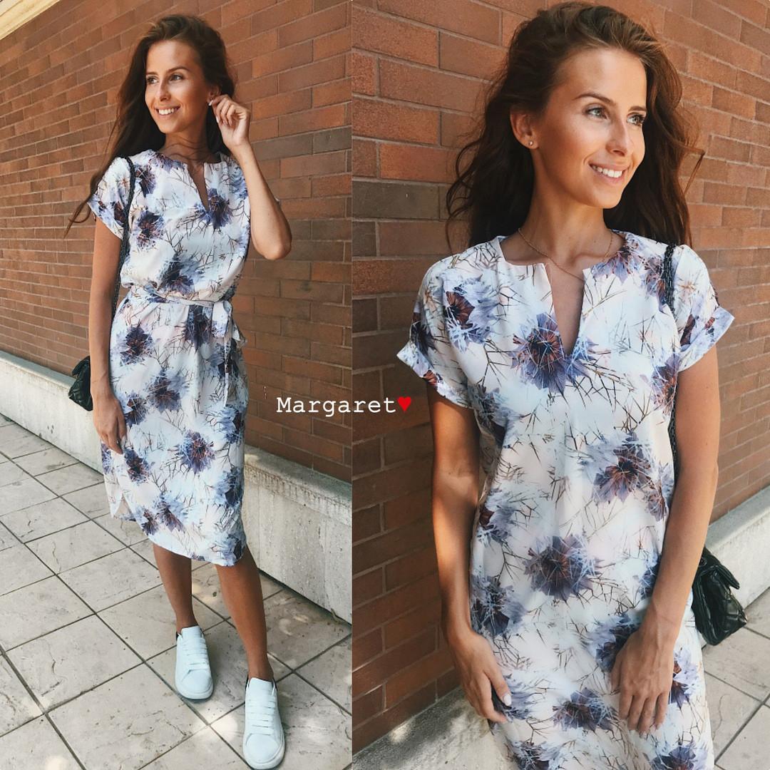 Платье с поясом летнее легкое супер-софт