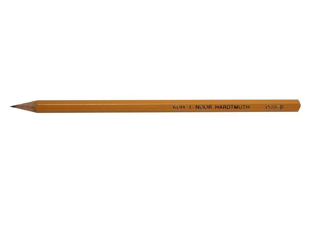 Карандаш чернографитный Koh_i_Noor 1570 B шестигранный без ластика заточенный, желтый корпус, профессиональный