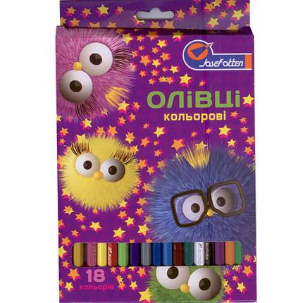 """Карандаши цветные J_Otten 1051С-18 18цветов """"Пушистики"""" карт/кор з пiдвiсом, фото 2"""