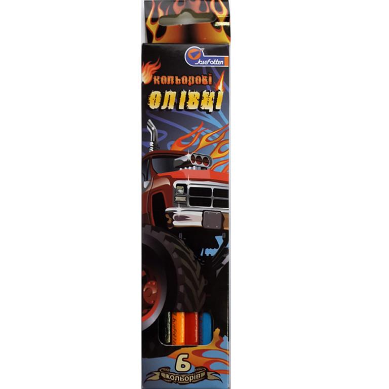 "Карандаши цветные J_Otten 7303-6F 6цветов ""Auto new"" карт/кор з пiдвiсом"