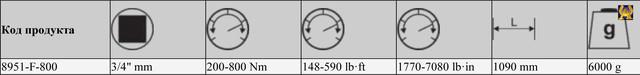 Динамометрический ключ, Bahco 8951-F-800