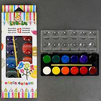 Краски акварельные для рисованият12 цветов, с кисточкой. Акварельные краски для начинающих.