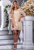 Нежное Нарядное Платье из Органзы с Узорами Персиковое М-2XL, фото 1