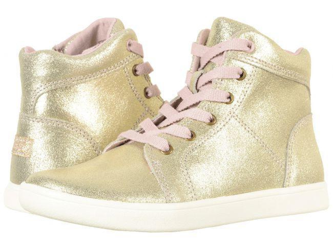 Золотые кожаные  ботинки кеды хайтопы Кожа Ugg Schyler gold  Угг оригинал (Размер 22 см)
