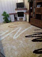 Пушистый ковер New Ezel Shaggy 9506 бежевый в гостиной