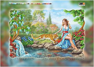 """Схема для вышивки бисером на подрамнике (холст) """"Девушка с леопардом у ручья"""""""