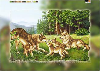 """Схема для вышивки бисером на подрамнике (холст) """"Семья волков"""""""