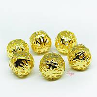 Металлическая бусина филигранный узор золото для рукоделия 6мм 8мм