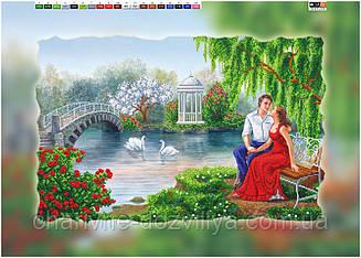 """Схема для вышивки бисером на подрамнике (холст) """"Романтическое свидание у озера"""""""