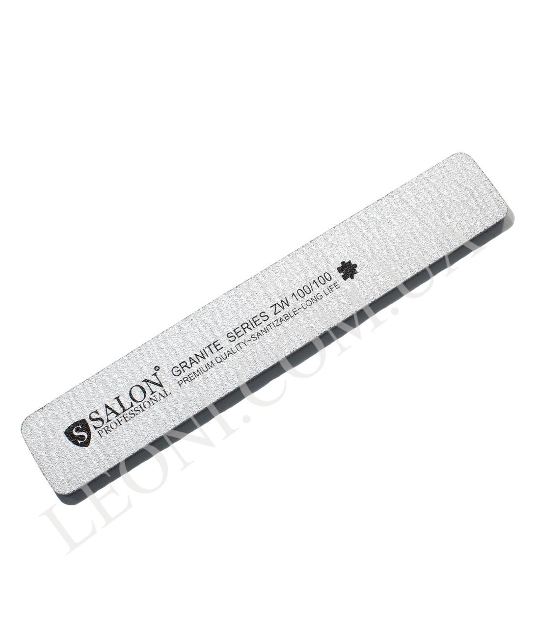 Пилка для ногтей Салон Salon 100/100 широкая серая.