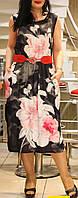 """Платье-сарафан женское """"Черное с красным поясом"""" 42-48"""