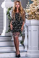 Красивое Вечернее Платье Сетка Черное с Бежевой Вышивкой M-2XL, фото 1