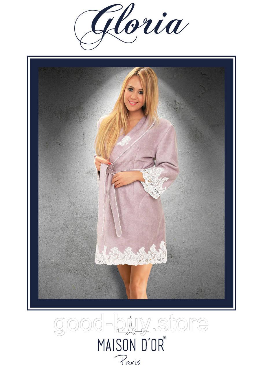 41fde6a8e315b Maison D'or Gloria бамбуковый женский халат со стразами бирюзовый -