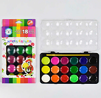 Краски акварельные для рисования 18 цветов, с кисточкой. Краски акварельные медовые.