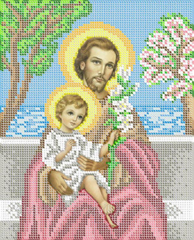 """Схема для вышивки бисером на габардине икона """"Святой Иосиф с младенцем Иисусом"""""""