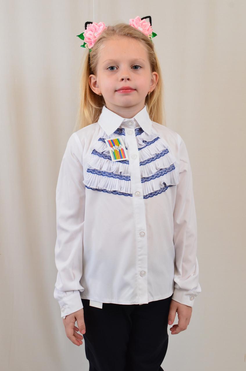 Модная интересная белая блуза для девочки с плиссироваными рюшами р.122-152