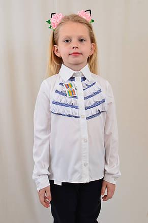 Модная интересная белая блуза для девочки с плиссироваными рюшами р.122-152, фото 2