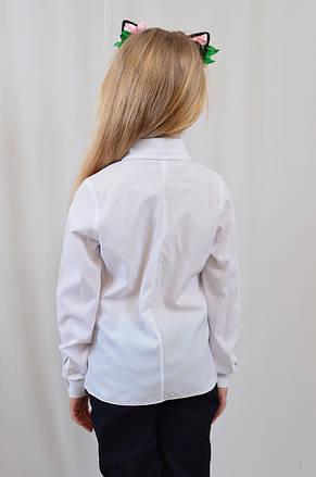 Модная интересная белая блуза для девочки с плиссироваными рюшами р.122-152, фото 3