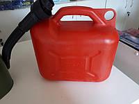 Канистра пластиковая с лейкой 10 литров, для бензина и дизеля с лейкой
