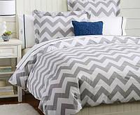 Зизгаг светло-серый, турецкий 100% хлопок для постельного белья