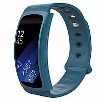 Силиконовый ремешок для фитнес браслета Samsung Gear Fit 2 / Fit 2 Pro (SM-R360 / R365) - Navy Blue S