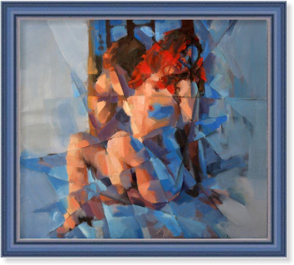 Репродукция  современной картины «Модель в красном и голубом» 60 х 65 см
