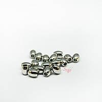 Металлическая бусина гладкая в форме бочонка из нержавеющей стали 5х4мм платина для рукоделия