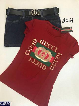 Бордовая футболка женская, фото 2