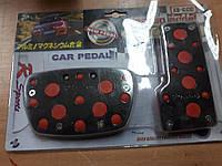 Накладки на педали Автомобильные ХВ 354 Vitol Автомат Красные с хром