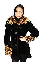 """Удлиненный мутоновый полушубок, с капюшоном - """"Леопард"""", фото 1"""