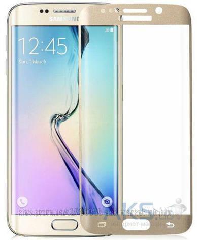 Защитное стекло Samsung G928 Galaxy S6 Edge Plus|Tempered Glass|Золото|На весь экран, фото 2