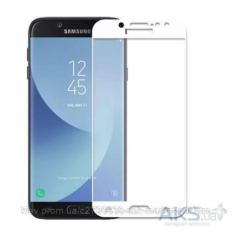 Защитное стекло Samsung J330 Galaxy J3 2017|Tempered Glass|Белый|На весь экран, фото 2