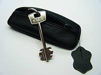 """Ключница чехол для ключей """"Классика"""" чёрная 14 см. натуральная кожа"""