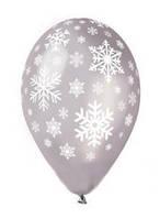 "Гелиевый шарик -  ""Снежинка (серебро)"" (25 см)"