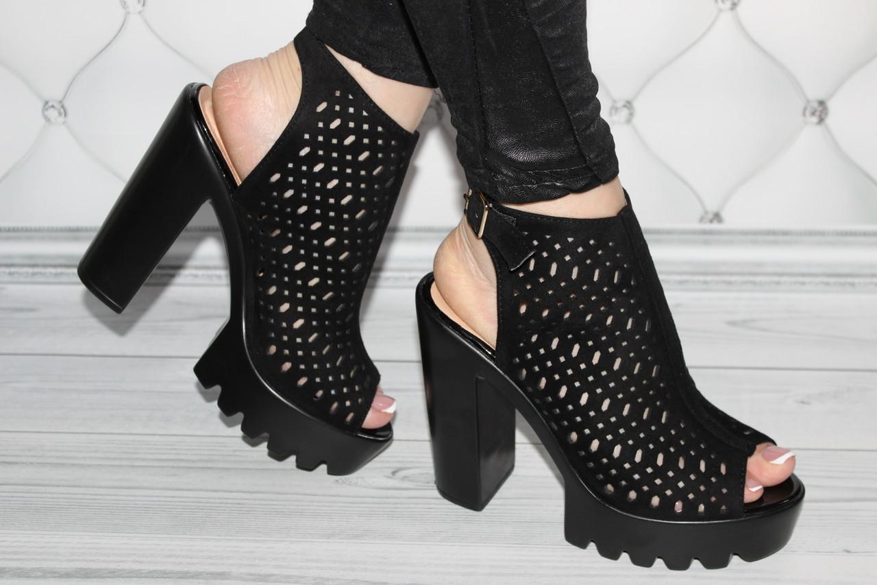 Женские босоножки на каблуке замшевые размер 35
