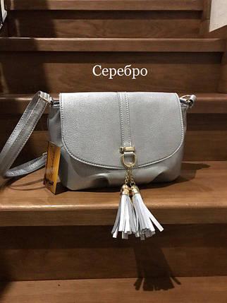 Модные сумки небольшие Серебристый, фото 2