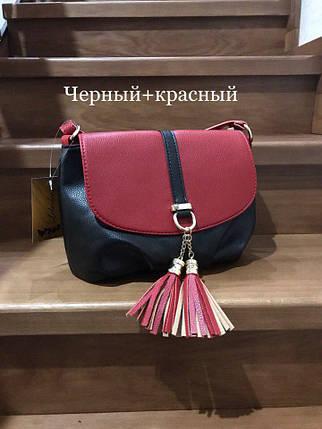 Модные сумки небольшие Черный+красный, фото 2