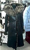 Длинная женская дубленка (с капюшоном), натуральная овчина, фото 1