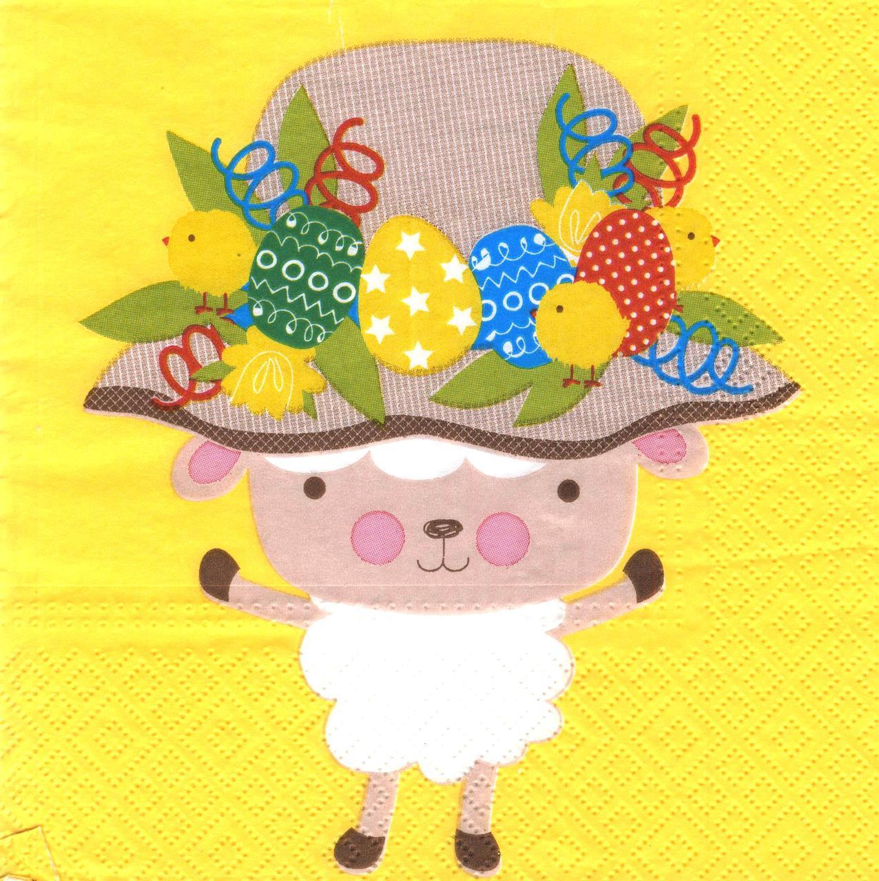 Декупажная салфетка Пасхальная овечка 7661