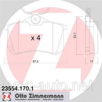 Тормозные колодки задние Zimmermann для Octavia A5 1.6л, 1.9TDI