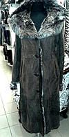 Длинная женская натуральная дубленка, темно-коричневая, с капюшоном (на пуговицах), фото 1