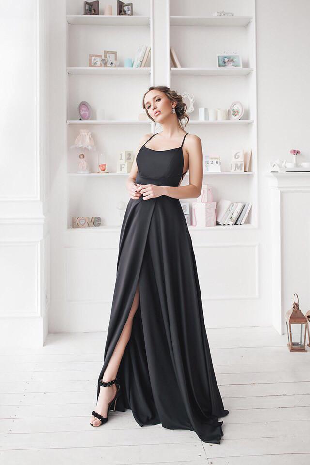 Платье в пол с открытой спиной Selena