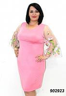 Платье женское, рукава сетка с вышивкой, батальные размеры, разные цвета.