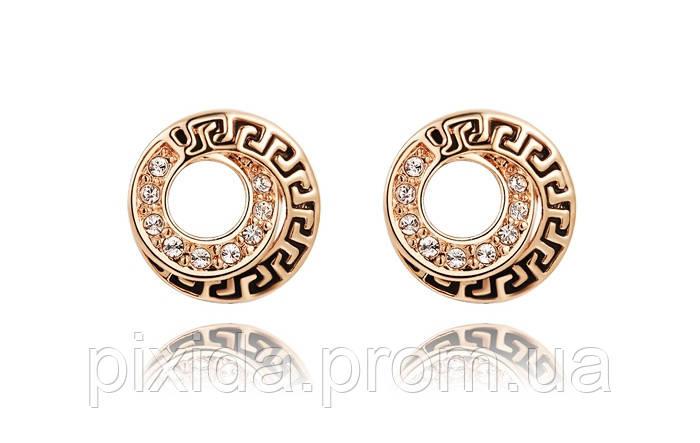 Сережки гвоздики антик фианиты покрытие 18К золото